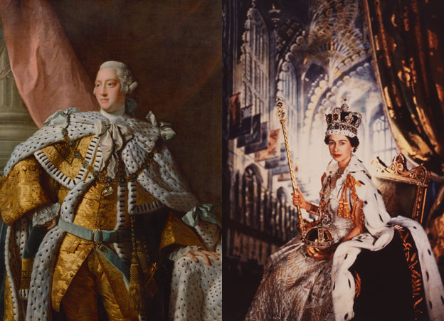 King George III by Allan Ramsay and Queen Elizabeth II by Cecil Beaton