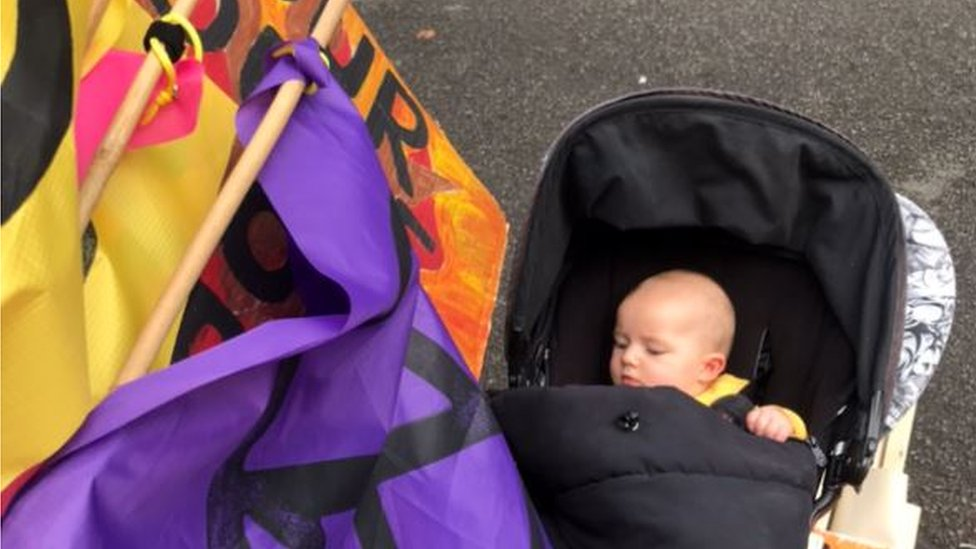 Baby Jack at a protest event