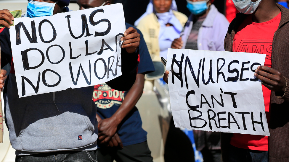 Nurses demonstrating outside Harare Central Hospital in July 2020