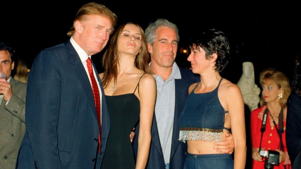 From left, Donald Trump and now-wife Melania Trump, Jeffrey Epstein, and Ghislaine Maxwell pose together at Mar-a-Lago, 12 February 2000