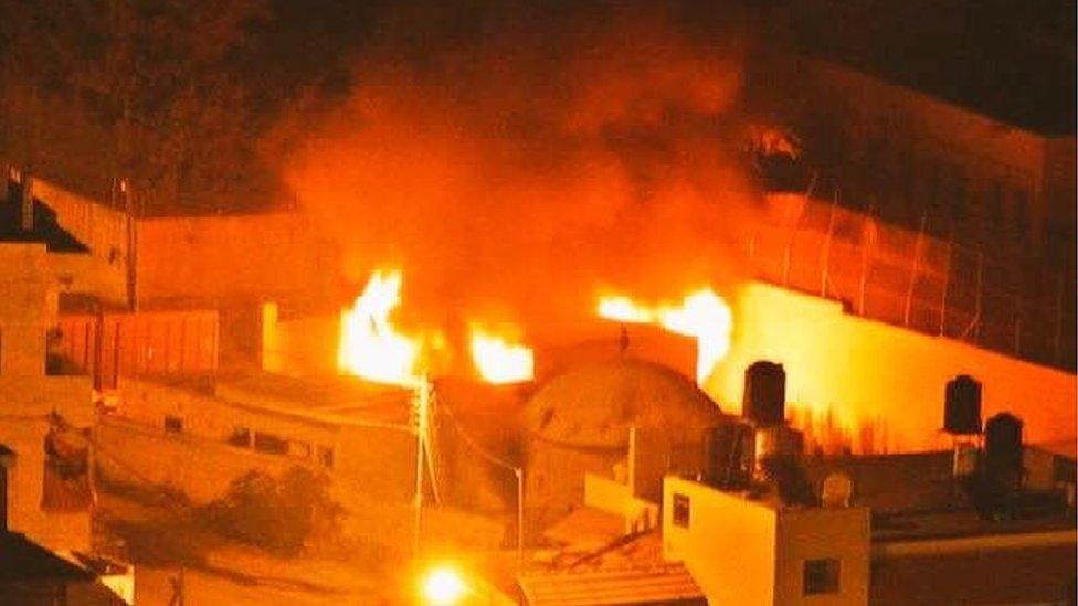 Joseph's Tomb on fire (16/10/15)