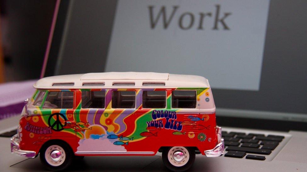 toy camper van on a computer