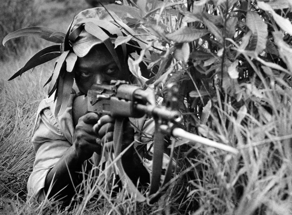 A nationalist Rhodesian fighter trains May 05, 1975 in the South of Rhodesia. The Rhodesian government and the black nationalists face a long guerrilla which led to an agreement and a multiracial new Assembly in 1978. In 1980, British government proclaimed the independence of South Rhodesia, becoming Zimbabwe.