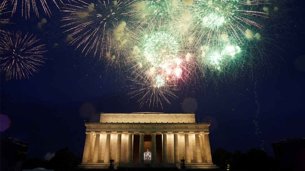 Fireworks are seen over the Lincoln Memorial during Fourth of July Independence Day celebration