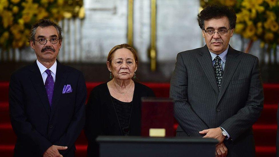 Gonzalo García Barcha, Mercedes Barcha y Rodrigo García Barcha.