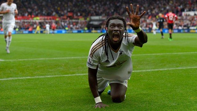 Bafetimbi Gomis celebrates scoring the winning goal against Manchester United