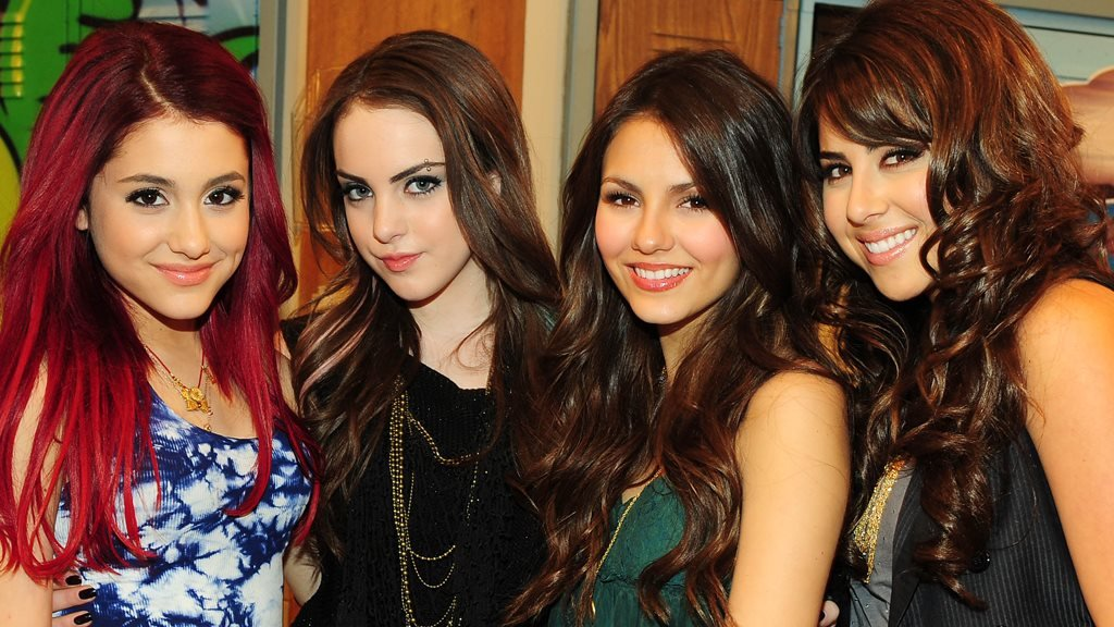 Ariana Grande (left) on the set of her first TV show, Victorious, in 2010, with Elizabeth Gillies, Victoria Justice and Daniella Monet