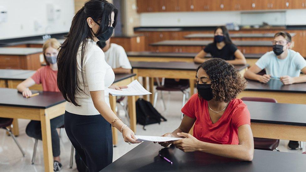 School teenagers in masks