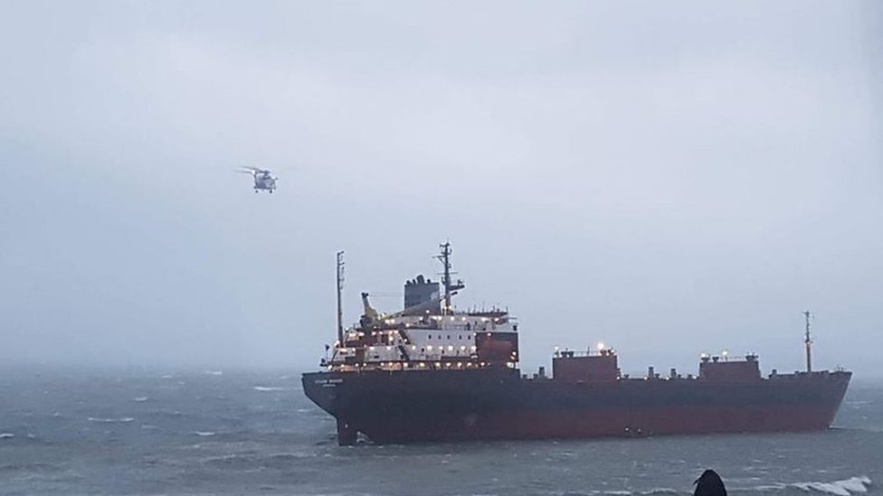 Russian cargo ship runs aground in Cornwall