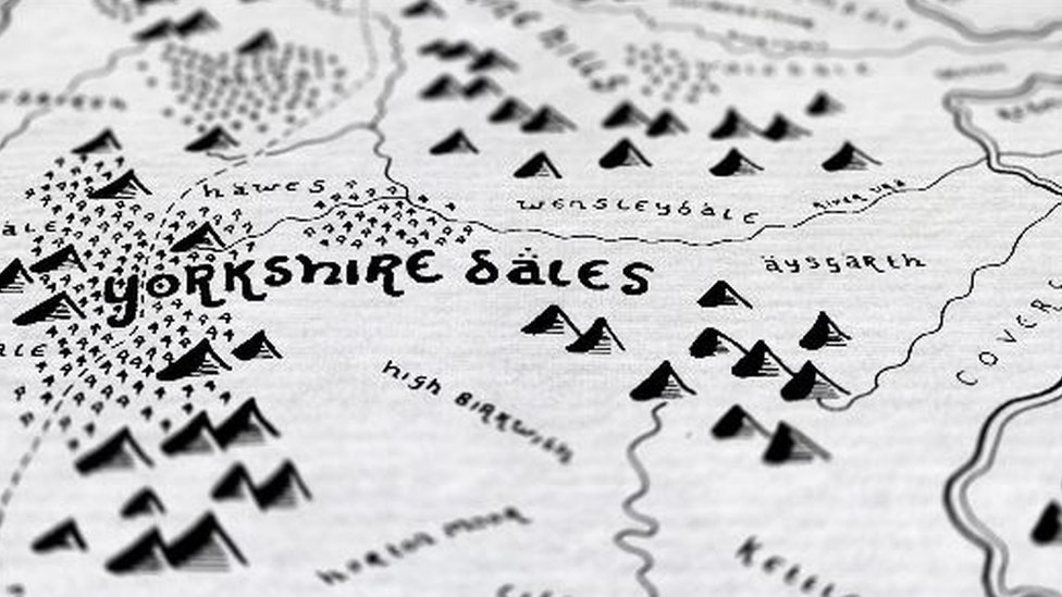 Tolkien-style map of Yorkshire Dales