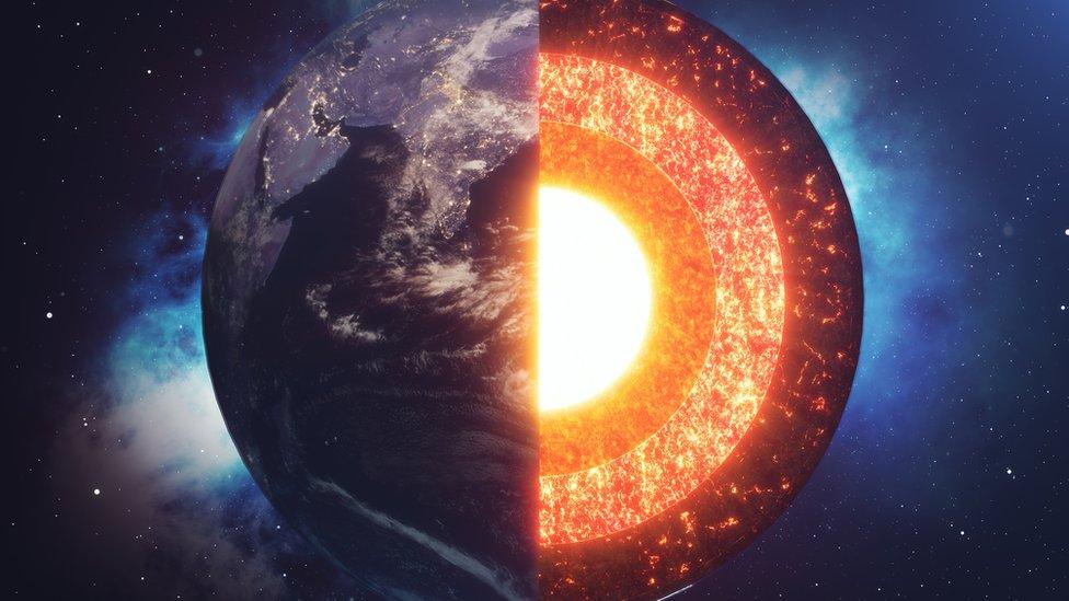 Ilustración de la estructura de la Tierra.