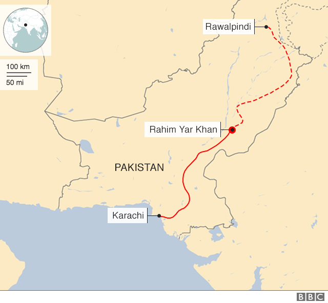 Map of the train's planned journey
