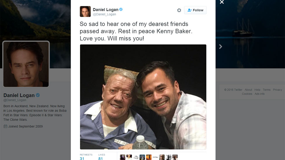"Daniel Logan tweet: ""So sad to hear one of my dearest friends passed away. Rest in peace Kenny Baker. Love you. Will miss you!"""