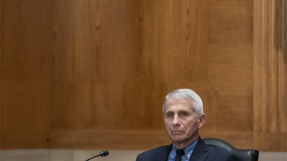 Anthony Fauci com feição séria sentado em frente a microfone, em sala de reunião