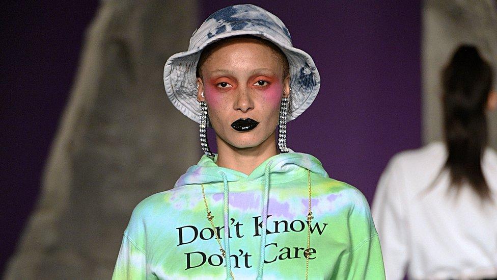 Slogans in Ashley Williams' London Fashion Week show in February
