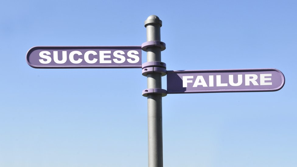 Sign showing success and failure