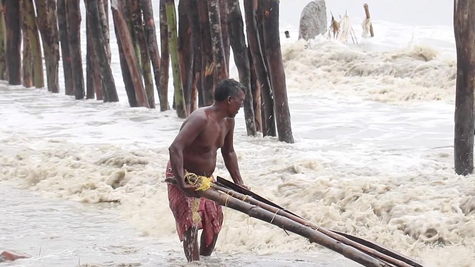 Hombre juntando barras de madera a orillas del mar en Sundarbans
