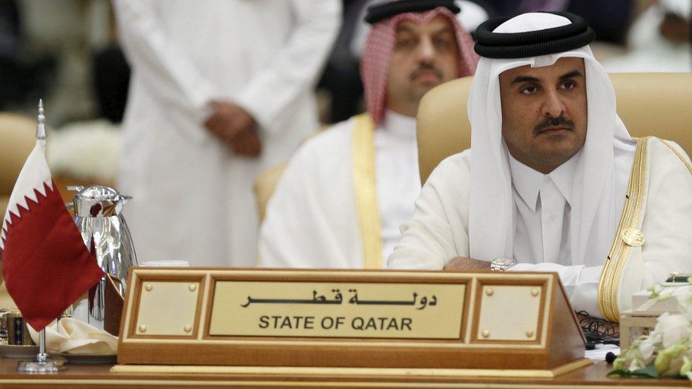 Qatar's Emir Sheikh Tamim bin Hamad Al Thani at a summit in Riyadh on 11 November 2015