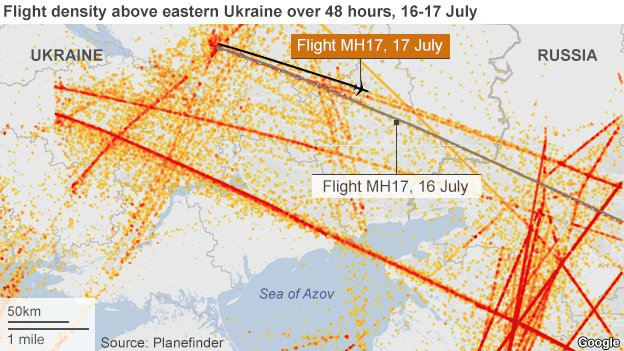 Map showing flight density over eastern Ukraine on 16-17 July