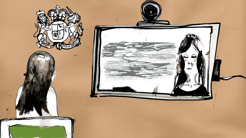 Illustration of a girl watching herself filmed on a TV screen in a court room