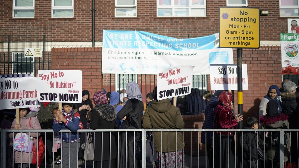 Protesters outside Parkfield Community School on 21 March