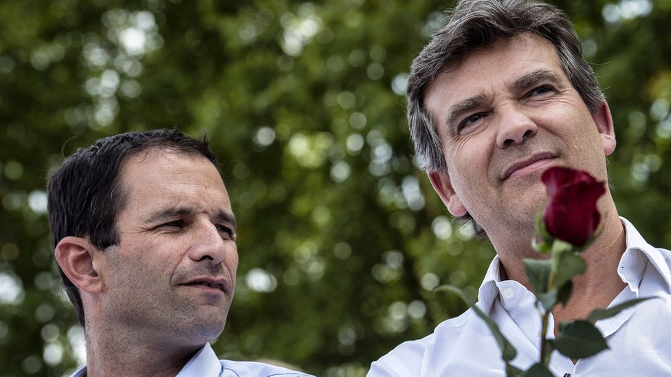 Arnaud Montebourg (R) and Benoit Hamon (L) on August 24, 2014