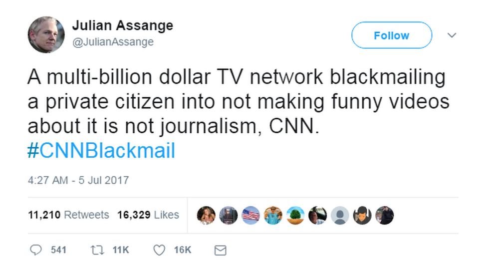 Julian Assange CNN blackmail tweet