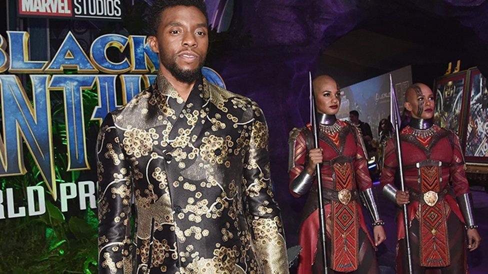 Chadwick Boseman en el estreno de Black Panther.