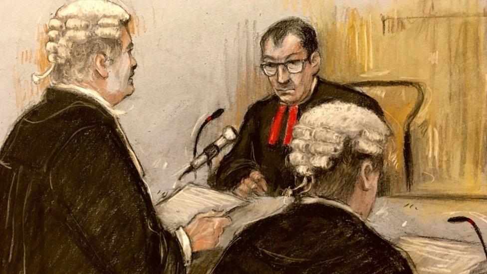 Court sketch of Wagatha Christie trial