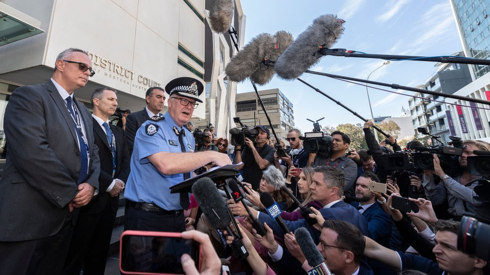 Western Australia police commissioner Chris Dawson addressing gathered media outside court after the verdict