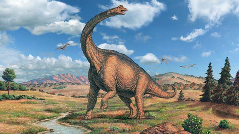 Ilustración de un Brachiosaurus