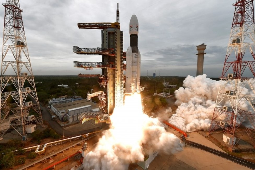 "A handout photo made available by the Indian Space Research Organisation (ISRO) shows ISRO orbiter vehicle ""Chandrayaan-2"", India""s first moon lander and rover mission planned and developed by the ISRO GSLV MKIII-M1, blasting off from a launch pad at Satish Dhawan Space Centre in Sriharikota, in the Southern Indian state of Tamil Nadu, India, 22 July 2019"