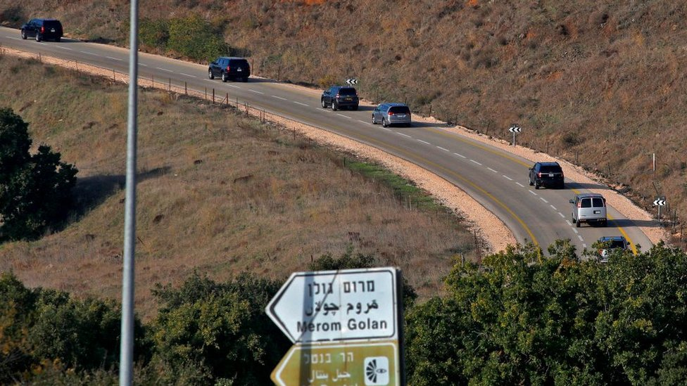 US Secretary of State Mike Pompeo's convoy travels to the Israeli-occupied Golan Heights