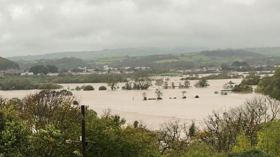 Flooded fields in Carmarthen