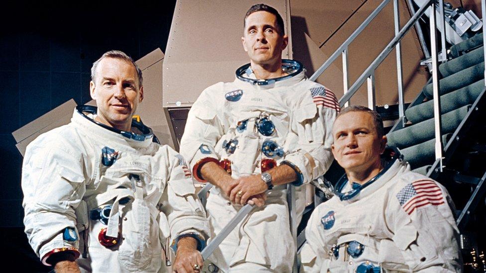 Los tres astronautas del Apolo 8.