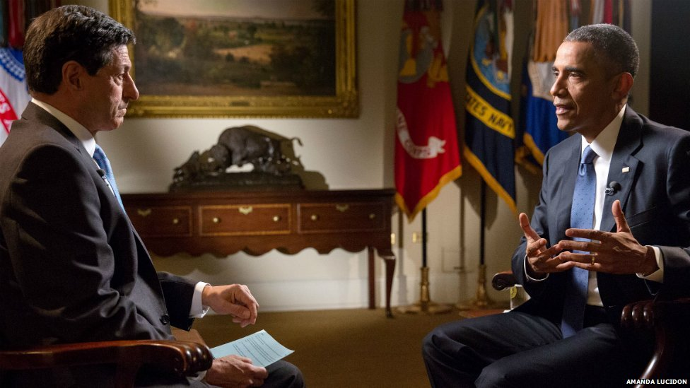 President Barack Obama participates in an interview with Jon Sopel of BBC in the Roosevelt Room of the White House - 23 July 2015