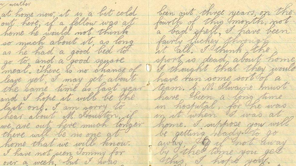 Hugh McKeown sent a hand written letter to his friend in Carrickfergus from a Germman prisoner of war camp