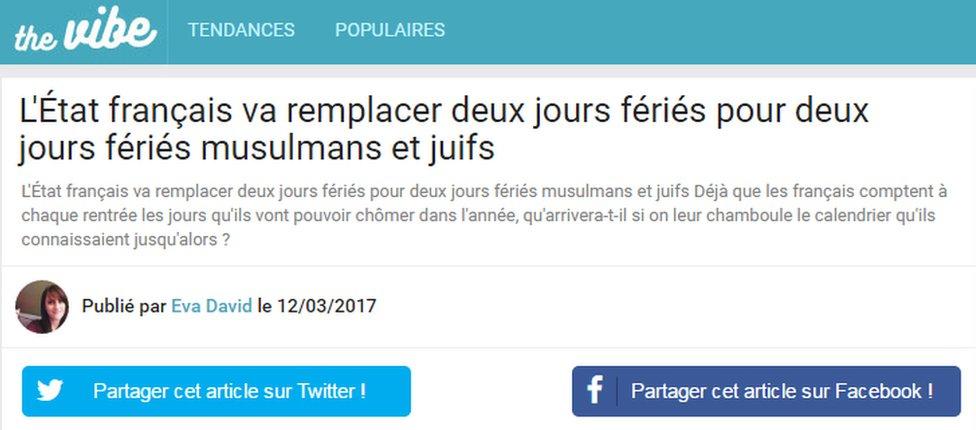 False French website headline