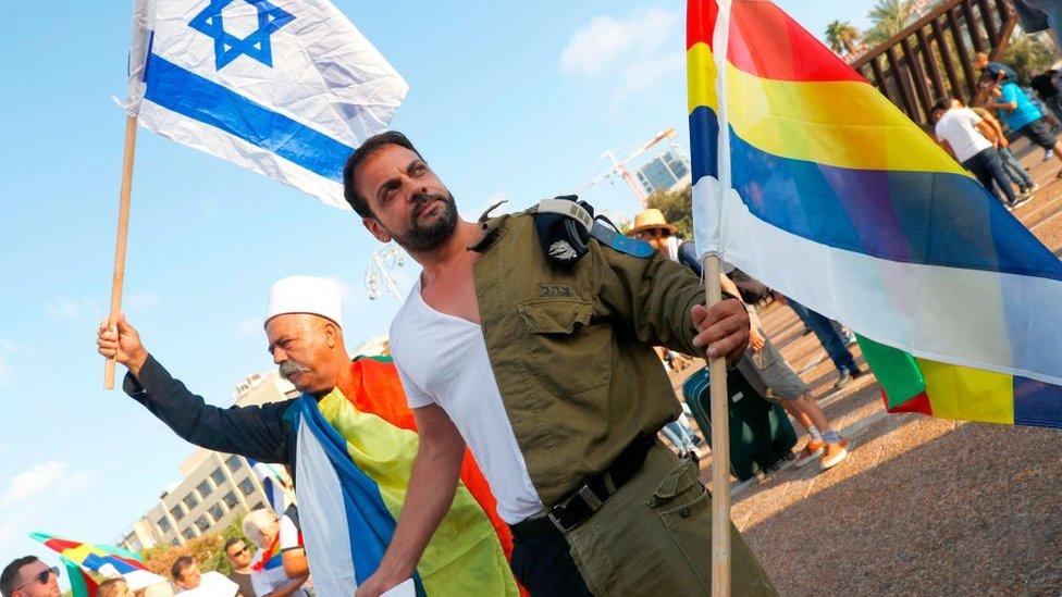 Manifestantes drusos en Israel.