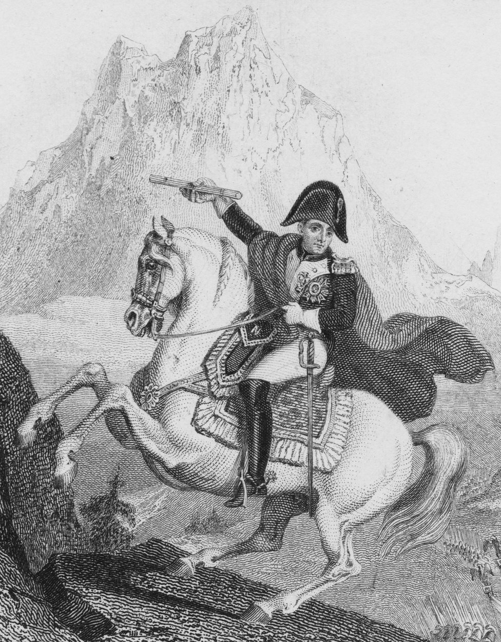 Napoleon crossing through the Alps into Italy on 20 May 1800 from Valais, Switzerland