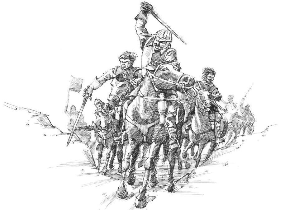 Reconstruction drawing depicting Scottish cavalry soldiers