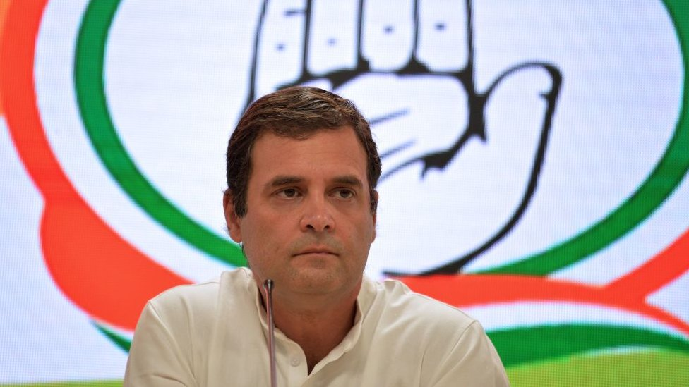 Indian National Congress Party president Rahul Gandhi looks on during a press conference, in New Delhi on May 23, 2019.