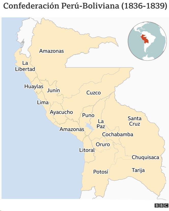 Mapa de la Confederación Perú-Boliviana