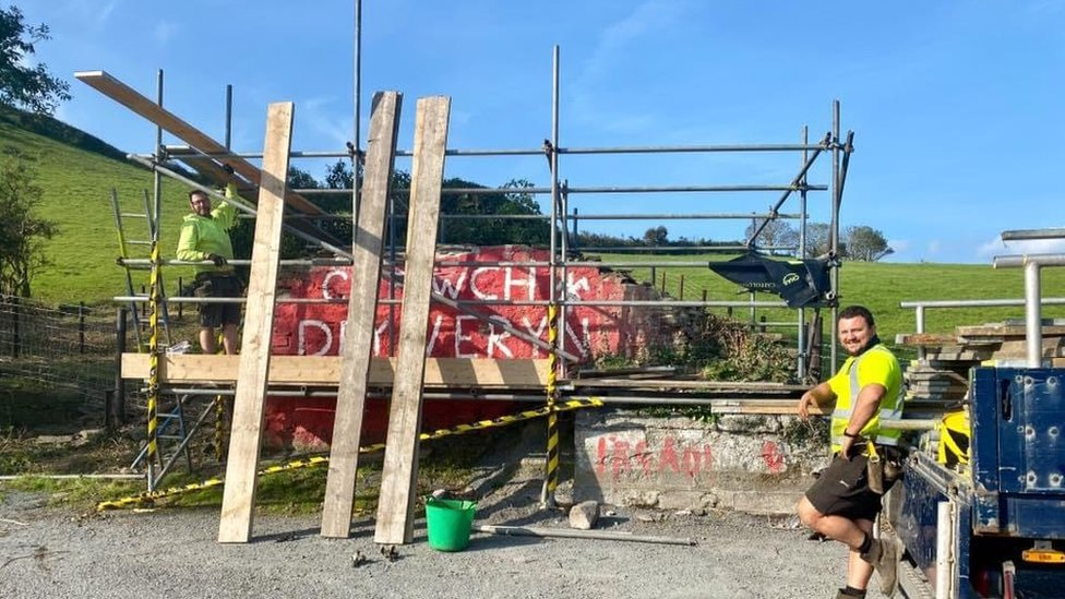 Scaffolding has gone up as work gets underway on the mural