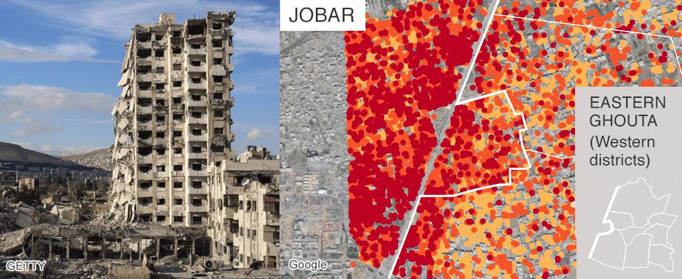 Map showing damage in Jober, Eastern Ghouta