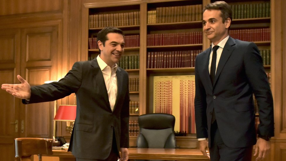 Grčki premijer Aleksis Cipras (levo) i lider Nove Demokratije Kirjakos Micotakis