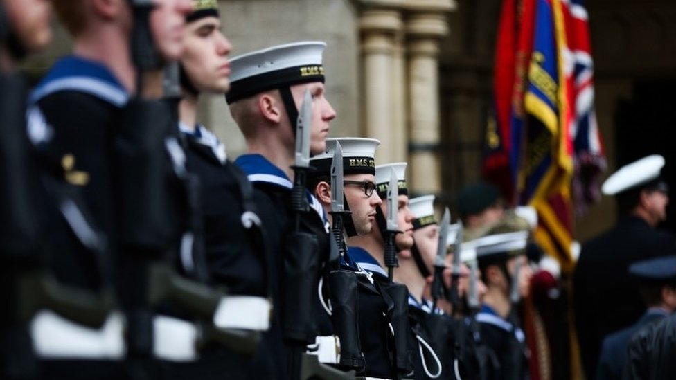 Remembrance Day parade in Truro, Cornwall