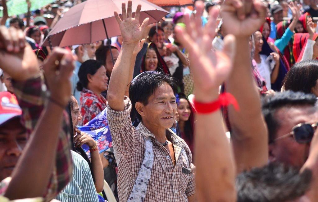 تجمع مؤيدي بعض الأحزاب في ديمابور، شمال شرق ناغالاند، في أبريل/نيسان 2019.