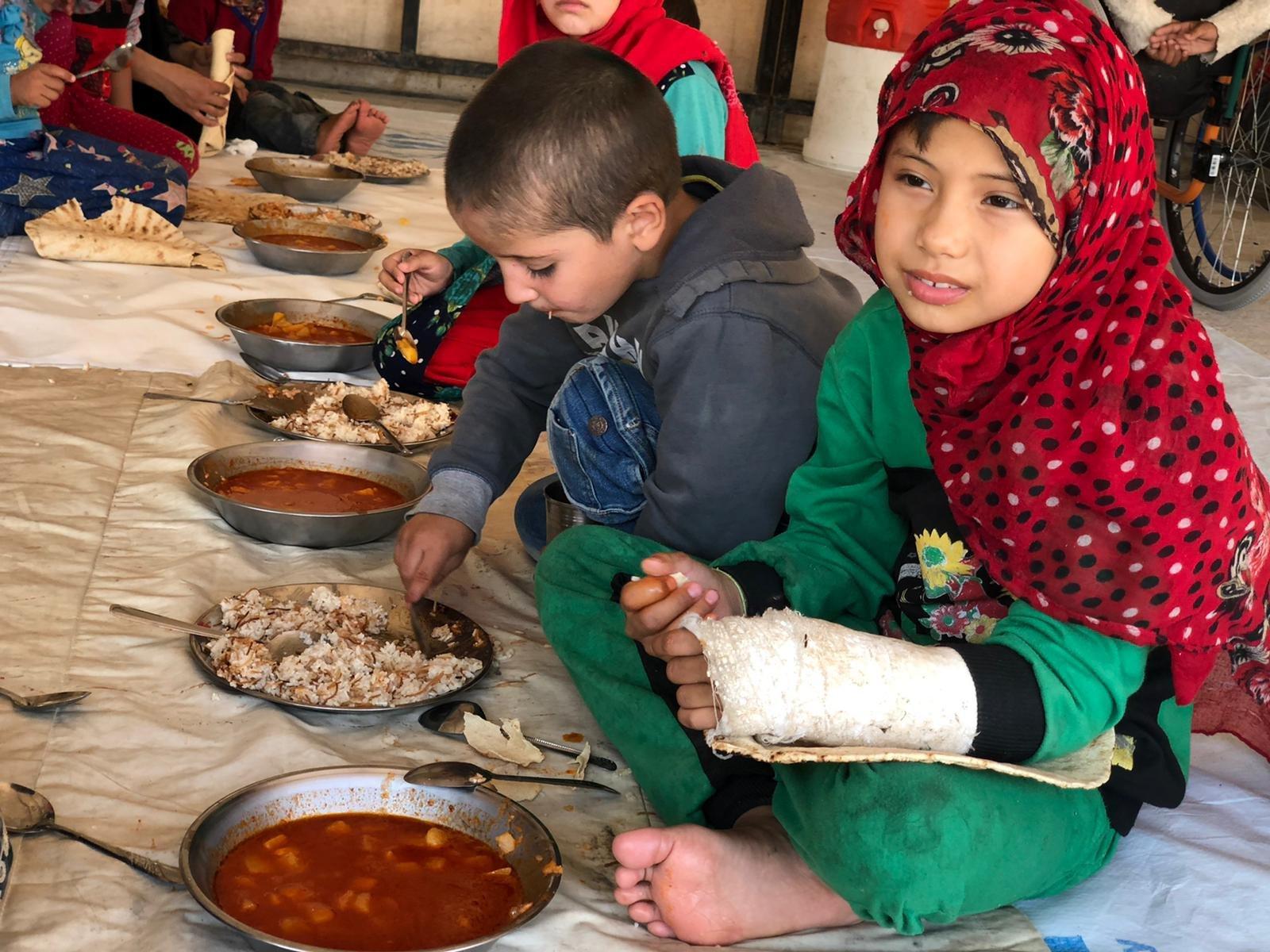 Children in camp in northern Syria