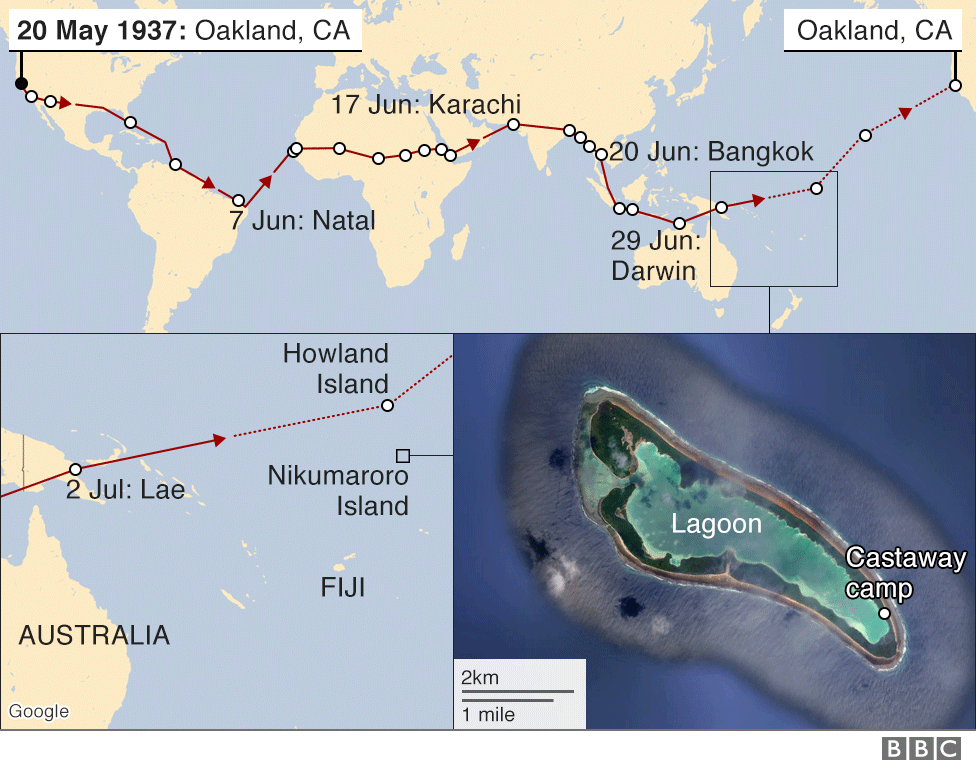 Map of Earhart's flight route